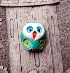 """Green Barn Owl Bead/Pendant with Flowers 1 1/8"""" long x 1"""" wide shaterra.etsy.com"""