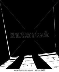 Outlined freehand illustration of figure standing behind shut door