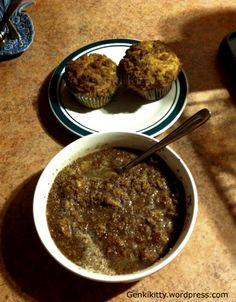 Wheatena and homemade blueberry muffins with a crumble topping.  #veganbreakfast #veganmuffins #vegan #genkikitty