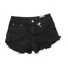 Pre-owned American Eagle Outfitters  Denim Shorts Size 8: Black... ($16) ❤ liked on Polyvore featuring shorts, black, jean shorts, denim shorts, american eagle outfitters, american eagle outfitters shorts and short jean shorts