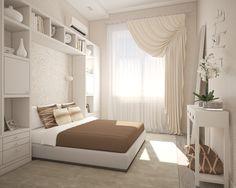 Светлая спальня в трехкомнатной квартире в центре Москвы.