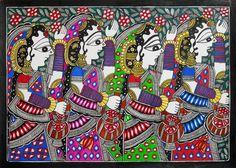 Women Carrying Flowers in Basket (Madhubani Folk Art on Paper - Unframed)