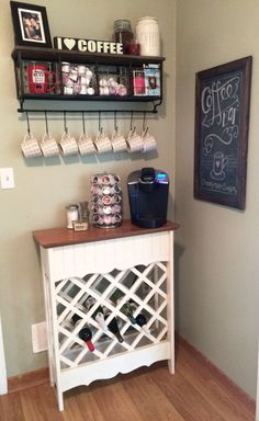 Coffee Bar Ideas - Looking for some coffee bar ideas? Here you'll find home coffee bar, DIY coffee bar, and kitchen coffee station. Wine And Coffee Bar, Coffee Bar Home, Home Coffee Stations, Coffee Bars, Hot Coffee, Corner Bar Cabinet, Wine Rack Cabinet, Coffee Nook, Coffee Corner