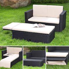polyrattan lounges lounge mobel auflagen sitzbank kissen balkon schwarz