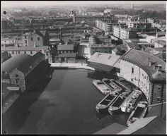 Grand Canal Place, Dublin, prior to fillling in. A call for the canal to be returned in Dublin's historical industrial district. Architecture Ireland, Arran, Grand Canal, Dublin Ireland, Old City, Walking Tour, Historical Photos, Old Photos, Trip Advisor