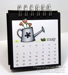 Designed by Lori Barnett. Stamps from Paper Smooches - Perky Plants and Green Thumb sets. Colored with Copic Markers Flip Calendar, Calendar Pages, Calendar 2017, Desk Calendars, Calendar Ideas, Handmade Christmas Gifts, Handmade Gifts, December 2014 Calendar, Post It Note Holders