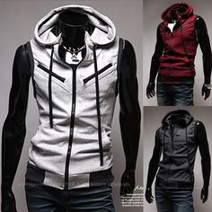 Fashon New Sleeveless Hoodies Clothing Men, Outerwear Hoodies Men,Boys Sports…