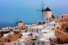 Windmills of Oia Village at Dawn, Santorini, Greece