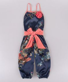 Look at this #zulilyfind! Blue & Navy Butterfly Bow Jumpsuit - Toddler & Girls by Mia Belle Baby #zulilyfinds