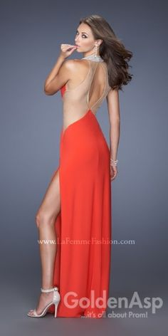 Alternate view of the La Femme 19930 High Neck Halter Jersey Long Dress image Open Back Prom Dresses, Prom Dress 2014, Dress Long, Formal Prom, Formal Gowns, Gown With Slit, Orange Bridesmaid Dresses, Dress Images, Unique Outfits