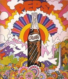1969 PEPSI AD | Illustrator John Alcorn takes us away to a dreamlike world filled with sunshine, moutains, rainbows, and, of course, Pepsi.