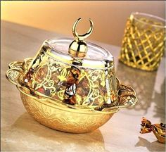 Turkish Ottoman Cone Turkish Delight Bowl Gold Silver Copper Crescent Palace Top