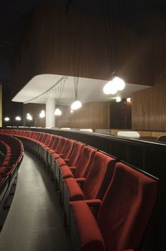 Theater seating and lighting from the interior redesign of the Rio cinema in Stockholm, Sweden - by studio 1:2:3 and student Kristoffer Sundin | www.1-2-3-info.se
