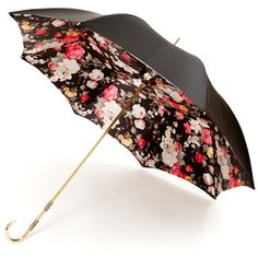 Floral Black Deluxe Double Canopy Umbrella by Pasotti