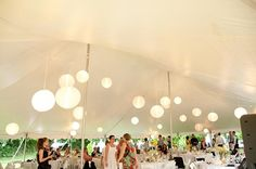 Backyard Wedding lanterns in tent