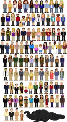 Lost characters 108 of them. Couldn't remember all the names, but who would? Jack, Locke, Kate, Sawyer, Hurley, Sayid, Sun, Jin, Ben (evil!) Charlie, Claire, Richard, Desmond, Penny, Michael, Vincent (dog), Walt, Boone, Shannon, Daniel, Charlotte, Miles, Frank, Rose, Bernard, Ana Lucita, Eko, Libby, and others