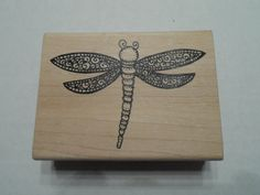 Rubber Stamp Dragonfly Flying Insect Wood by ShellysSweetFinds