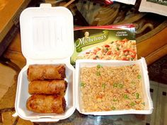 Spring rolls from Shang Hai (Memphis, TN) and from a nearby Kroger, Michelina's Chicken Fried Rice. #CheapEats