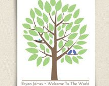 Baby Shower Tree - Guest Book Alternative Print - The Babywik - A Peachwik Art Print - Love Birds and Nested Baby Bird - 40 guests