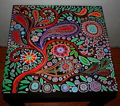 Custom Design Coffee Table Made To Order Functional by FunkyArtGuy Funky Painted Furniture, Painted Chairs, Furniture Makeover, Diy Furniture, Indian Furniture, Funky Chairs, Mosaic Designs, Coffee Table Design, Paisley Design