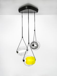 White Interior - Brokis lights - Smoke grey, dark smoke grey and yellow, Capsula. Design by Lucie Koldova.