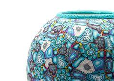 Round Polymer clay vase Home decor by tamarozenpolymerclay