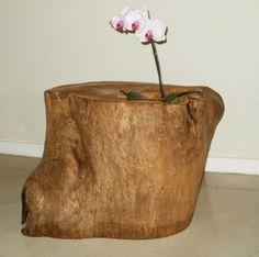 Macetas con troncos de árbol inertes reciclados, de Simone Lescher