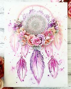 ・・・ Dreamcatcher love 💗💗💗 Pink, purple, peach and silver combo! Love this custom order 💕💕💕 created using… Mixed Media Canvas, Mixed Media Art, Diy Wall Art, Diy Art, Diy Painting, Painting & Drawing, Dreamcatcher Wallpaper, Watercolor Dreamcatcher, Dream Catcher Art