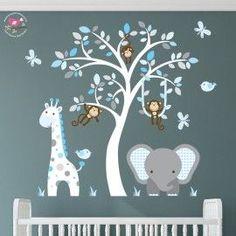 Enchanted Interiors Premium Self Adhesive Fabric Nursery Wall Art Stickers  Jungle Wall Decals featuring a Safari Tree, Swinging Monkeys, a Giraffe and Elephant.  Blue and Grey Nursery Room Decor #NurseryStickers