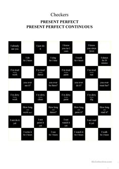 Checkers - Present Perfect Continuous / Present Perfect