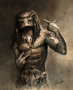 Thug Life Predator by Vitalii Smyk Alien Vs Predator, Predator Movie, Predator Alien, Predator Helmet, Cartoon Kunst, Cartoon Art, Foto Fantasy, Fantasy Art, Arte Horror