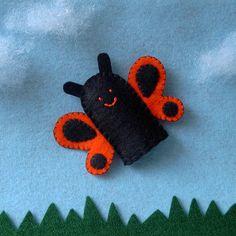 Orange Butterfly Finger Puppet  Butterfly Puppet  by cherylasmith, $5.00