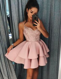 Cute Spaghetti Straps Pink Tiered A Line Short Homecoming Dresses Sleeveless Prom Dress, A-Line Homecoming Dresses, Prom Dresses, Short Prom Dress, Prom Dress Pink Prom Dresses 2020 Cheap Homecoming Dresses, Hoco Dresses, Graduation Dresses, Sexy Dresses, Elegant Dresses, Wedding Dresses, Formal Dresses, Pink Dresses, Summer Dresses