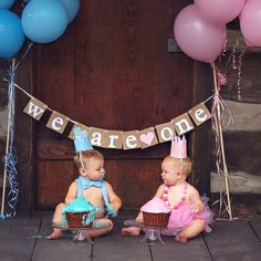 Twins banner Boy & Girl twins bannerWe are one by lolaandcompany