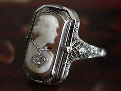 Art Deco Filigree Reversible 'FLIP' Ring 14K Carnelian Cameo w/Diamond switch to Emerald zircon