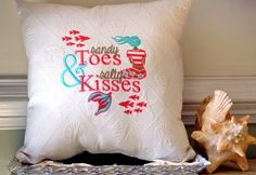 Embroidered Mermaid Pillow Beach Decor by ByTheSeashoreDecor Diy Pillows, Decorative Pillows, Throw Pillows, Nautical Pillows, Cushions, Mermaid Pillow, Dream Beach Houses, Condo Decorating, Decorating Ideas
