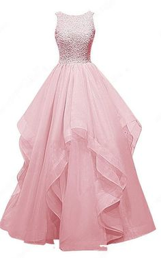 Pink Ball Gown Scoop Neck Organza Sleeveless Beading Long Prom Dress