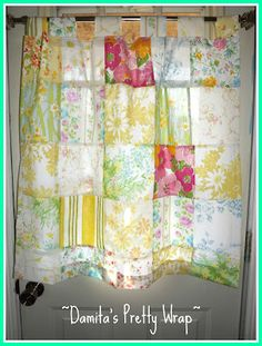 {air your laundry friday} Textile Link Party Patchwork Curtains, Patchwork Cushion, Patchwork Baby, Boho Curtains, Patchwork Fabric, Vintage Sheets, Vintage Fabrics, Sheet Curtains, Handkerchief Crafts