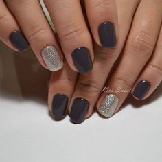 A manicure with dark gel-varnish is universal and practical, because it will fit to any clothes and will not stand out from the image, which you would like