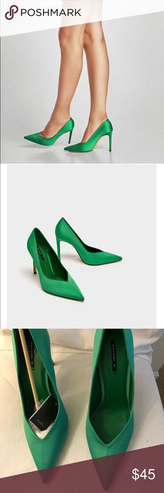NWT Zara green pumps Brand new in box with tags never worn. Green pointed toe pumps. See pics for details. Comes with Dust Bag and box. Price Firm Size 41 (10) Zara Shoes Heels