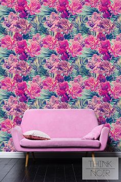 Pink Tropical Wallpaper / Self Adhesive Removable and Regular Wallpaper / Tropical Wall Mural / Tropical Print Wallpaper Pink Removable Wallpaper, Print Wallpaper, Large Bookshelves, Tropical Wallpaper, Tropical Pattern, Art Furniture, Free Prints, Kids Bedroom, Bedroom Ideas