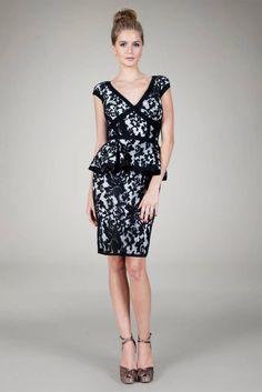 Tadashi Shoji Embroidered Lace Peplum Cap Sleeve Dress Black & White 16 $328