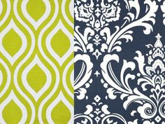 College Dorm Twin XL Bedding Reversible  Duvet and Sham in Artist Green and Navy Damask on Etsy, $158.00
