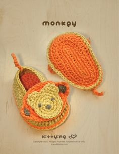 Monkey Baby Booties Crochet PATTERN from mulu.us | This pattern includes sizes for 0 - 12 months.