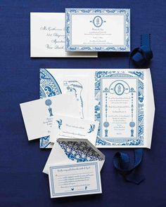 This Blue-and-White Wedding in Connecticut Was Inspired by a China Pattern | Martha Stewart Weddings - Phyllis Roth of By Invitation Only Designs worked with the couple on the letterpressed stationery, including an invitation sent in a pocket-fold and a save-the-date introducing the monogram. They added her parents' Connecticut house, Winvian architecture, and the Litchfield Hills. Envelopes were calligraphed in navy blue by Yellow House Calligraphy.