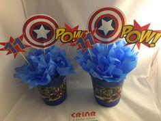 Enfeites de mesa Capitão América ! Fale conosco By Criar é Coisa Séria. Saiba mais em facebook.com/criarecoisaseria Captain America Birthday, Face Light, Superhero Party, 5th Birthday, Special Day, Avengers, Birthdays, Creative, Party Ideas