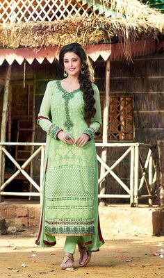 Seize the limelight wearing this honeydew embroidered chiffon salwar dress. The gorgeous butta, lace and resham work all through the attire is awe-inspiring. #FabPistaGreenAnkleLengthSuit