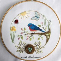 Spring Bluebird Embroidery