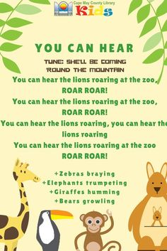 and baby animals A fantastic action song for storytimes of all ages! A fantastic action song for storytimes of all ages! Babies and toddlers will love it as a lap bounce and older kids enjoy acting out familiar animals. Zoo Preschool, Preschool Music, Preschool Learning, Preschool Activities, Preschool Movement Songs, Jungle Preschool Themes, Preschool Action Songs, Transition Songs For Preschool, Jungle Theme Classroom