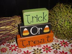 new trick or treat candy corn halloween decor wood sign blocks primitive country rustic holiday seasonal